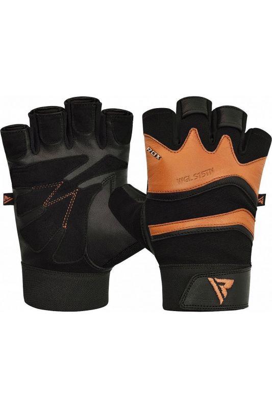 RDX Training Weight Lifting Gym Leather S15 TAN kesztyű