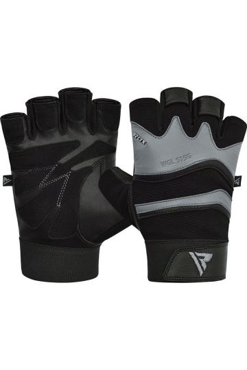 RDX Training Weight Lifting Gym Leather S15 GRAY kesztyű