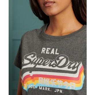 Superdry női póló Vintage Logo - SötétSzürke