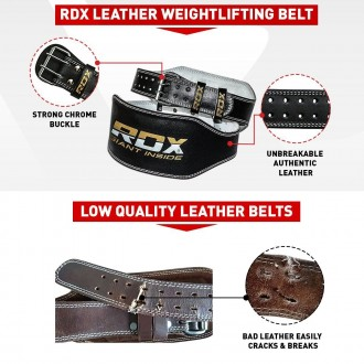 "RDX 6"" bőr fitness öv"