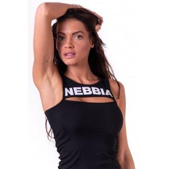 NEBBIA Rib Cut Out női top 678 - Fekete