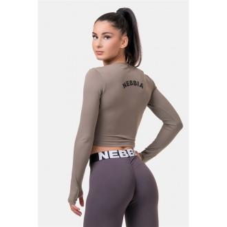 Nebbia Sporty HERO crop top hosszúújjú 585 - Mocha