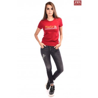 Retro Jeans Női Póló Ariana Bordó